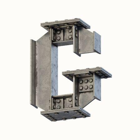 Steel beam font 3d rendering letter G