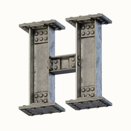 Steel beam font 3d rendering letter H