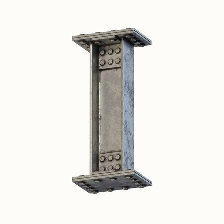 Steel beam font 3d rendering letter I