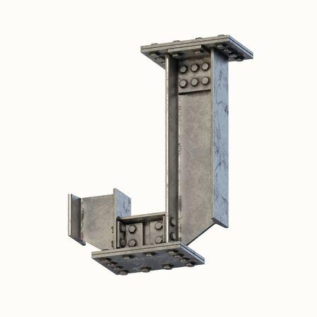 Steel beam font 3d rendering letter J