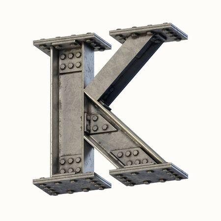 Steel beam font 3d rendering letter K