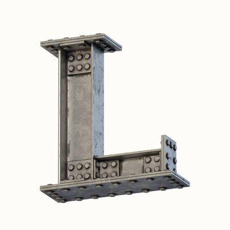 Steel beam font 3d rendering letter L