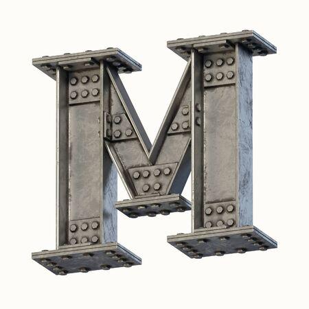 Steel beam font 3d rendering letter M