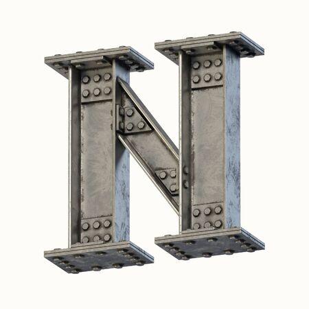 Steel beam font 3d rendering letter N