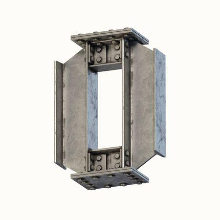 Steel beam font 3d rendering letter O Banque d'images