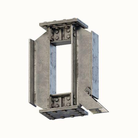 Steel beam font 3d rendering letter Q Banque d'images