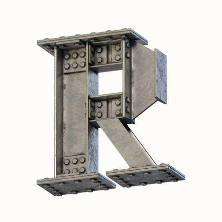Steel beam font 3d rendering letter R