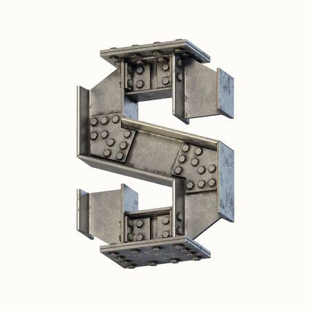 Steel beam font 3d rendering letter S 写真素材