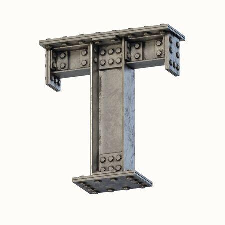 Steel beam font 3d rendering letter T