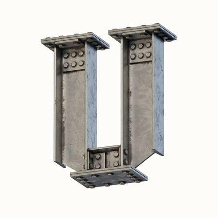 Steel beam font 3d rendering letter U