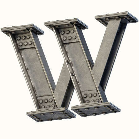 Steel beam font 3d rendering letter W