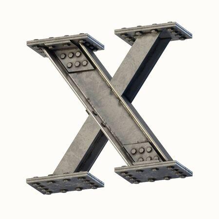 Steel beam font 3d rendering letter X