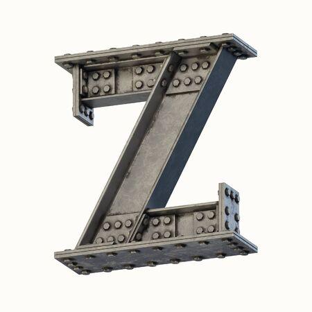 Steel beam font 3d rendering letter Z