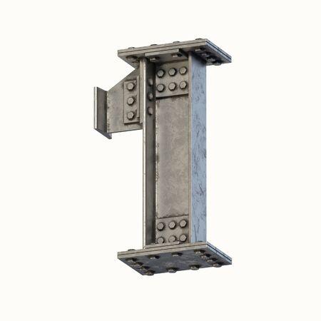 Steel beam font 3d rendering number 1 Banque d'images