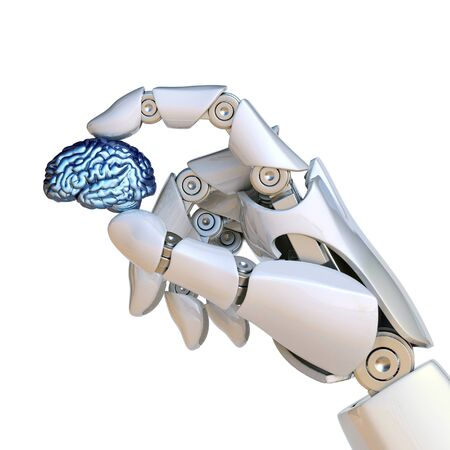 Robotic hand holding human brain, artificial intelligence concept, bionic brain 3d rendering Banque d'images