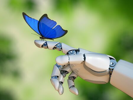Butterfly on robot hand, technology and nature 3d rendering