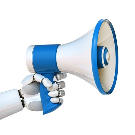 Robot hand holding loudspeaker, android with megaphone, tech advertisement concept 3d rendering 写真素材