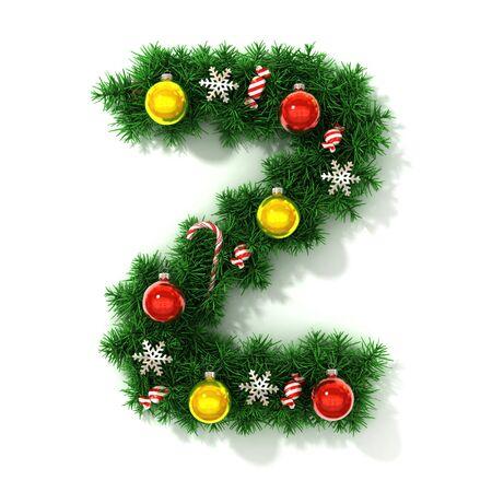 Carattere di Natale isolato su bianco, lettera Z rendering 3d