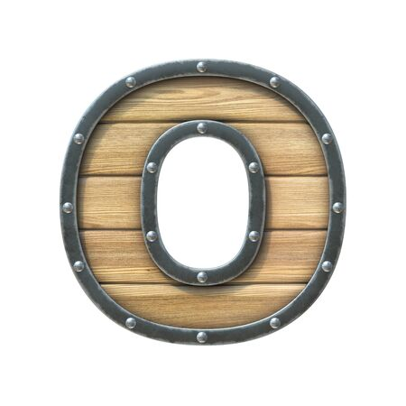 Font made of wooden board with metal frame and rivets, 3d rendering letter O Imagens