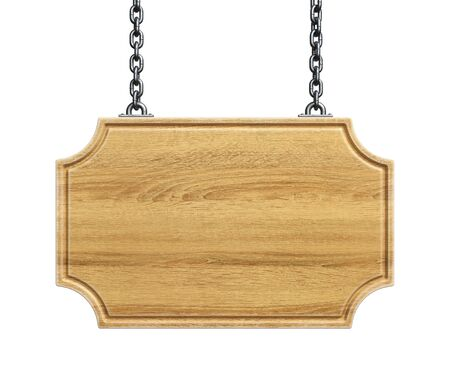 Wooden sign board hanging on a chains isolated on white background 3d rendering Archivio Fotografico