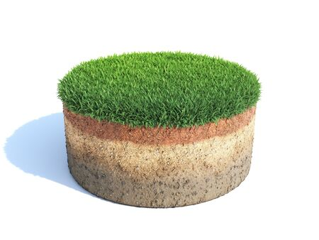 Cylindrical cross section of ground with grass, ecology, geology concept, soil sample isolated on white, 3d illustration