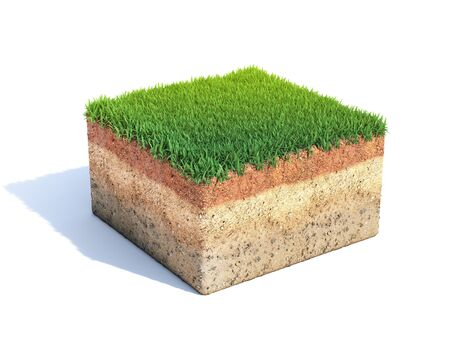 Cubic cross section of ground with grass, ecology, geology concept, soil sample isolated on white, 3d rendering