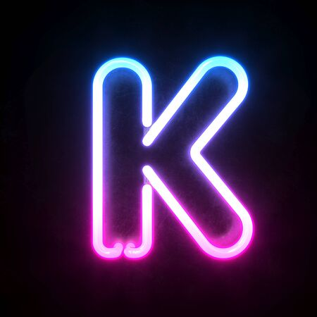 Neon 3d font, blue and pink neon light 3d rendering, letter K