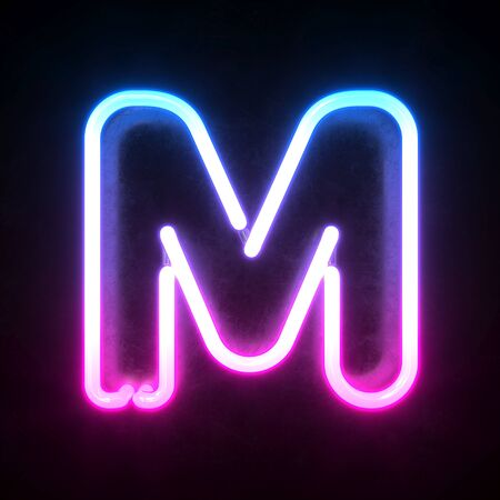 Neon 3d font, blue and pink neon light 3d rendering, letter M