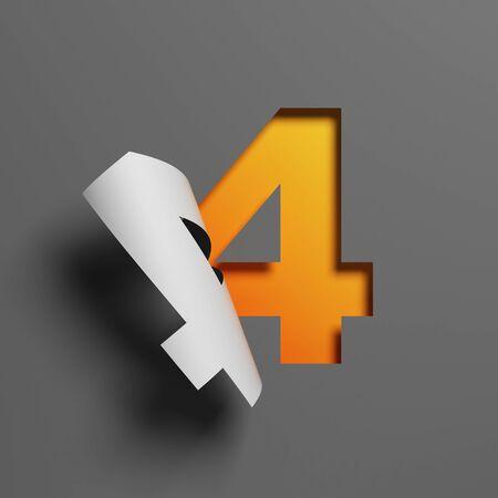 Curl paper font 3d rendering number 4 Foto de archivo
