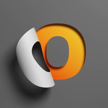 Curl paper font 3d rendering letter O 版權商用圖片