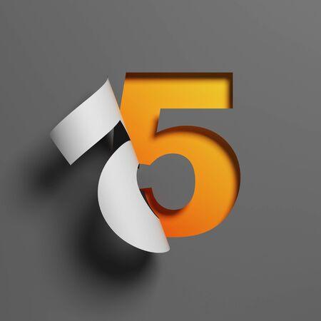 Curl paper font 3d rendering number 5