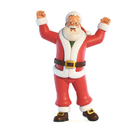 Santa Claus cheering with both hands isolated on white background 3d rendering 版權商用圖片