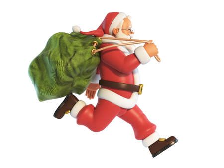 Santa Claus running with sack full of presents isolated on white background 3d rendering 版權商用圖片