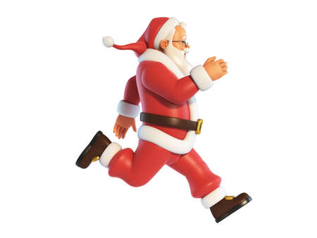 Santa Claus running isolated on white background 3d rendering