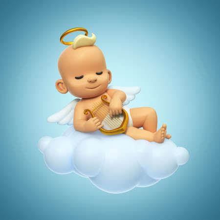 Little baby angel playing lyre on the cloud, cartoon angel character with wings and halo in the sky, 3d rendering