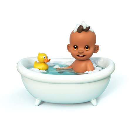 Happy baby taking a bath playing with rubber duck. Little child in a bathtub. Infant washing and bathing. Hygiene and care for young children 3d rendering