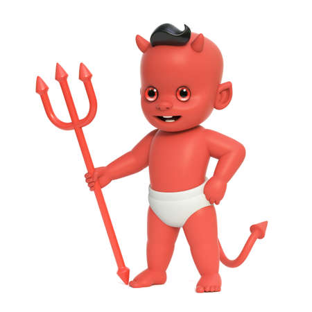 Red baby devil, shoulder devil with horns and tail holding trident, 3d rendering 版權商用圖片