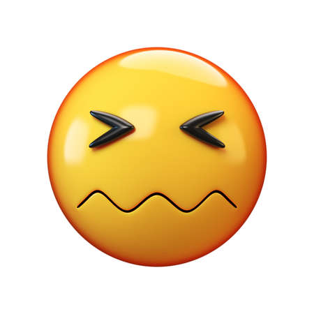 Confounded face emoji on white background 3d rendering 版權商用圖片