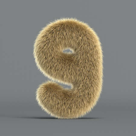 Hairy font, furry alphabet, 3d rendering, number 9