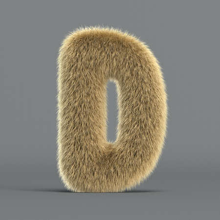 Hairy font, furry alphabet, 3d rendering, letter D 版權商用圖片