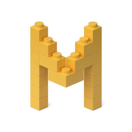 Building blocks font 3d rendering letter M