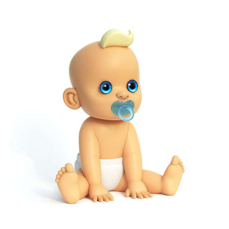 Cute Baby sitting, Caucasian infant 3d rendering on white background