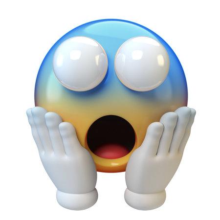 Screaming emoticon on white background, shocked, scared emoticon 3d rendering 版權商用圖片