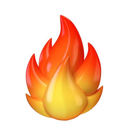 Fire symbol, hot emoticon on white background 3d rendering 版權商用圖片