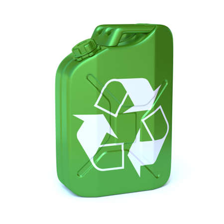 Bio fuel green jerrycan with recycling sign 3d rendering