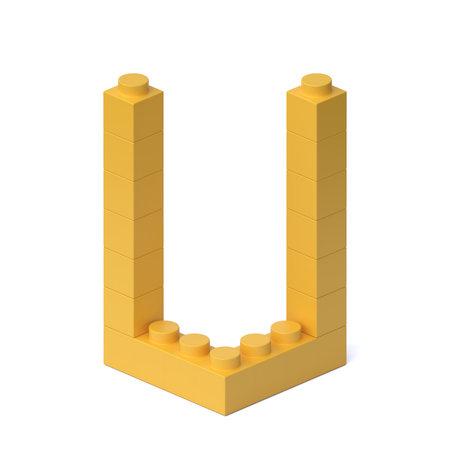 Building blocks font 3d rendering letter U