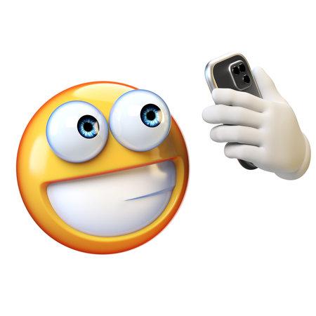 Emoji taking selfie, Emoticon holding mobile phone on white background, 3d rendering