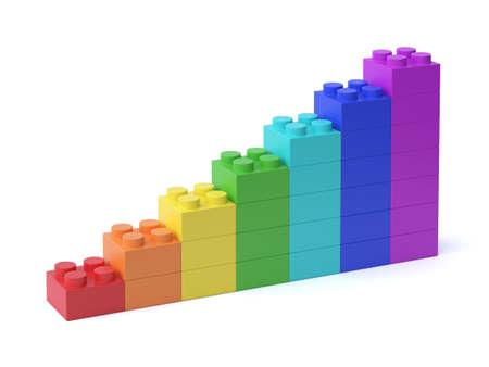Growing bar chart from colorful building blocks 3d rendering 版權商用圖片