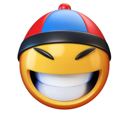 Asian emoji isolated on white background, emoticon with  Asian hat 3d rendering