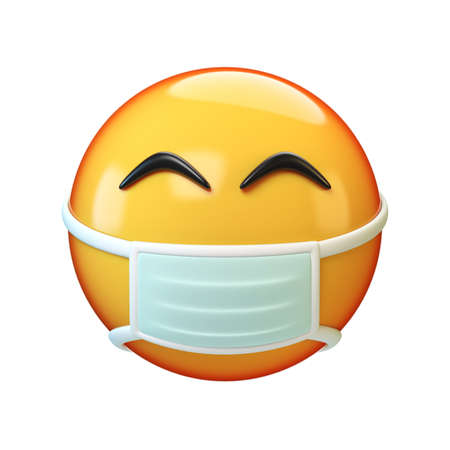 Face mask emoticon on white background, 3d rendering